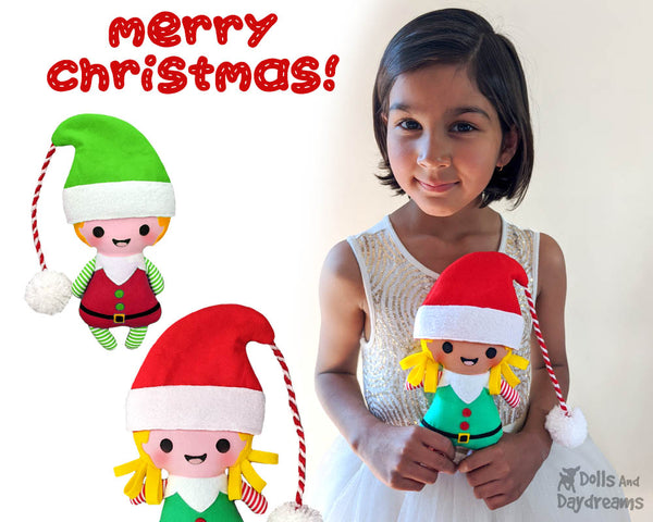 Tiny Christmas Elf pdf  Sewing Pattern by Dolls And Daydreams Christmas cloth boy girl elves xmas doll