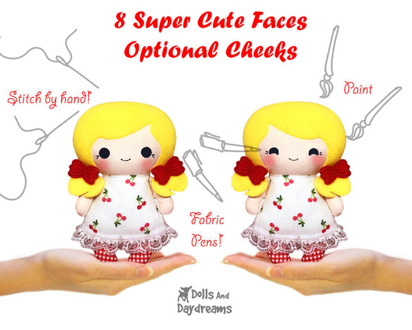 Hand Embroidery Or Painting Tiny Tot Doll Faces Pattern Pack