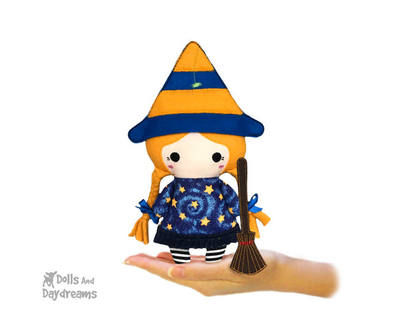 In The Hoop Machine Embroidery Tiny Tot Witch Doll Pattern by Dolls And Daydreams ITH spooky halloween DIY cloth doll