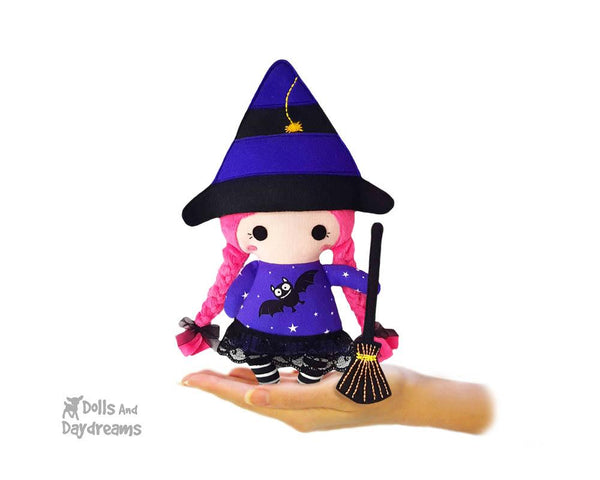 Tiny Tot Witch Sewing Pattern by Dolls And Daydreams small cloth fabric doll pdf diy  Halloween