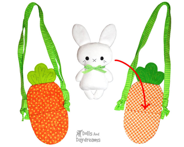 Tiny Tot Carrot Easter Tote Sewing Pattern by Dolls And Daydreams DIY doll carry case basket  bag