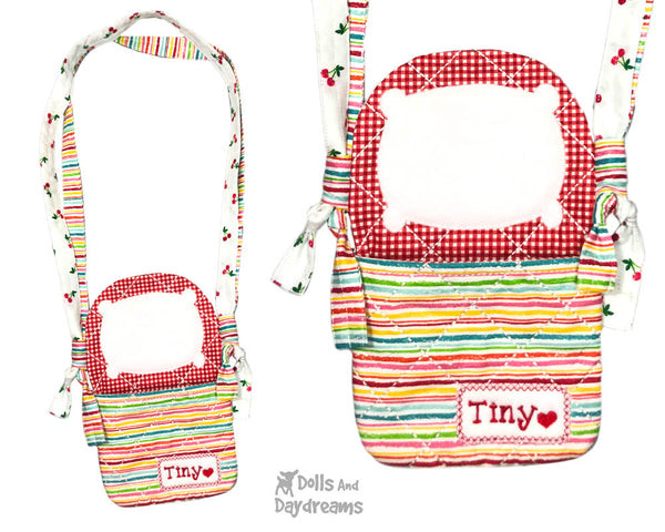 In The Hoop Machine Embroidery Tiny Tot Tote Doll Pattern by Dolls And Daydreams ITH DIY bag cross body doll carrier