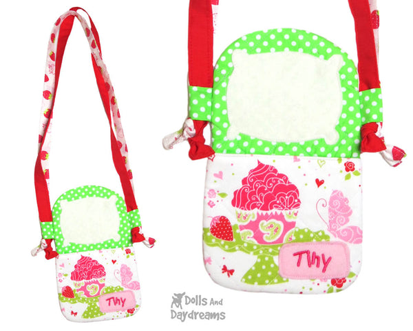 Tiny Tot Tote Sewing Pattern by Dolls And Daydreams DIY doll carry case bag
