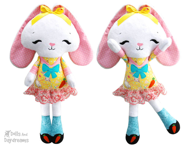soft toy Sewing PDF Pattern Tippy Toes Bunny Rabbit Softie by dolls and daydreams