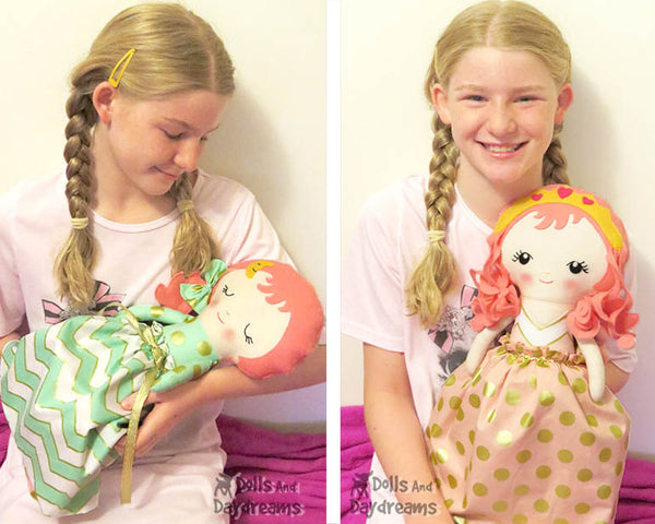 Topsy Turvy Cloth Doll Sleeping Beauty Sewing Pattern - Dolls And Daydreams