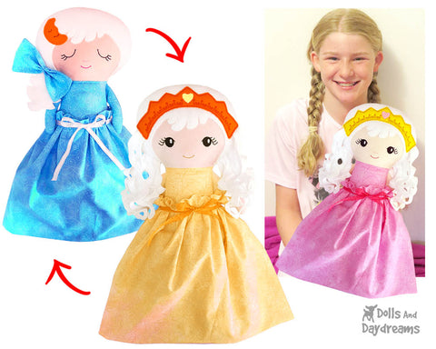 ITH Machine Embroidery Topsy Turvy Doll Pattern DIY Cute Plush childrens old fashion Toy In The Hoop by Dolls And Daydreams