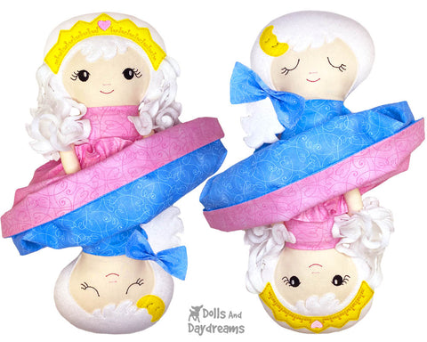 ITH Machine Embroidery Topsy Turvy Cloth Doll Pattern DIY Cute Plush girls old fashion Toy In The Hoop by Dolls And Daydreams