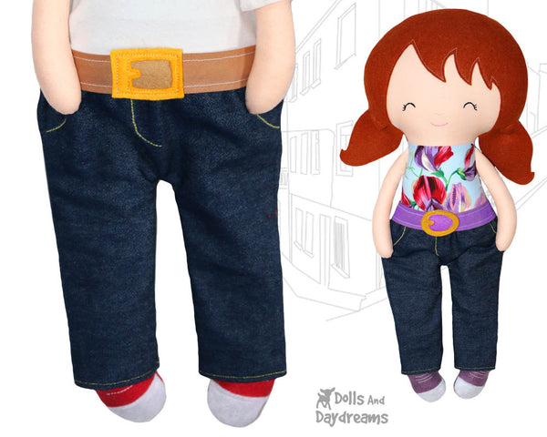 18 inch Doll trouser pants jeans Sewing Pattern by Dolls And Daydreams