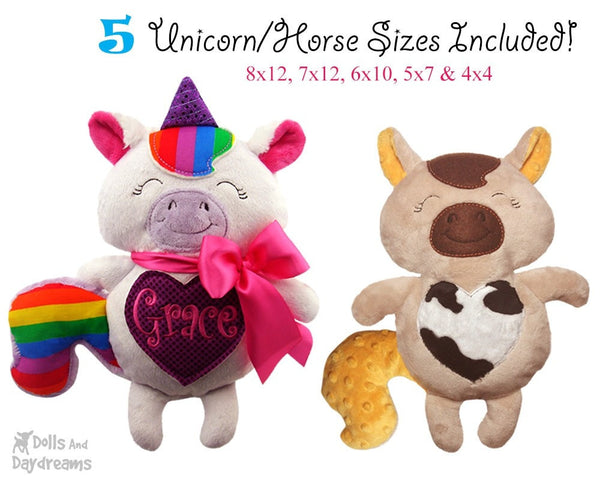 Embroidery Machine Unicorn Horse Zebra Pattern - Dolls And Daydreams - 3