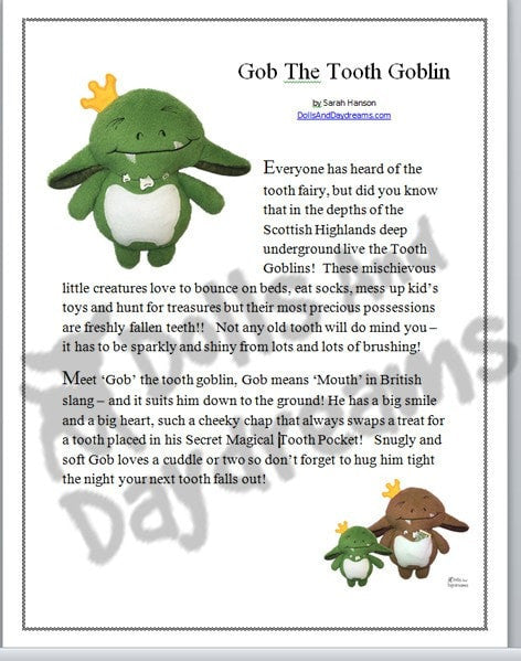 Tooth Goblin Sewing Pattern - Dolls And Daydreams - 3
