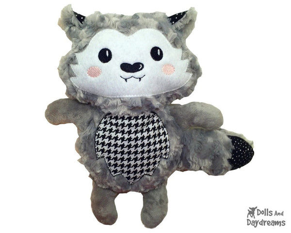 Embroidery Machine Wolf Pup Pattern - Dolls And Daydreams - 1