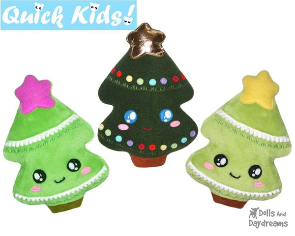 Quick Kids Christmas Tree Sewing Pattern by Dolls And Daydreams DIY Xmas Softie Easy Kawaii Plush Tree