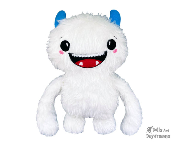 Embroidery Machine Yeti ITH Pattern In the hoop diy abominable snowman soft toy plush by Dolls And Daydreams