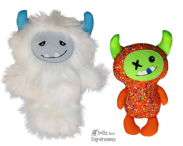 Yeti Monster Sewing Pattern - Dolls And Daydreams - 1