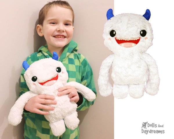 Yeti PDF Sewing Pattern cute abominable diy softie toy plush by Dolls And Daydreams