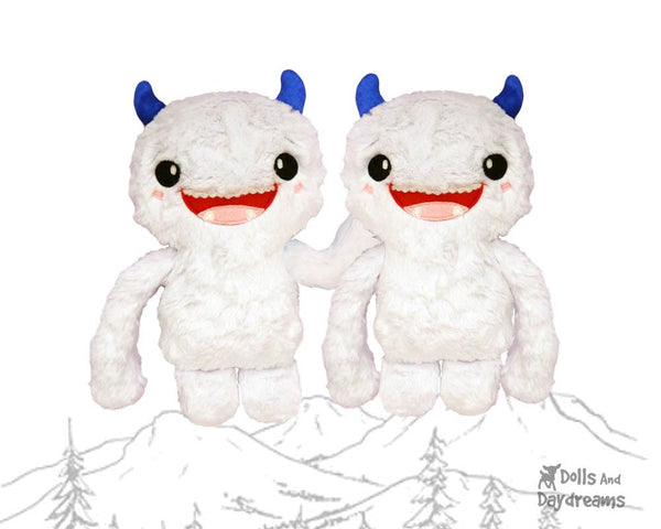 Yeti PDF Sewing Pattern cute abominable snowman diy kids toy plushie by Dolls And Daydreams