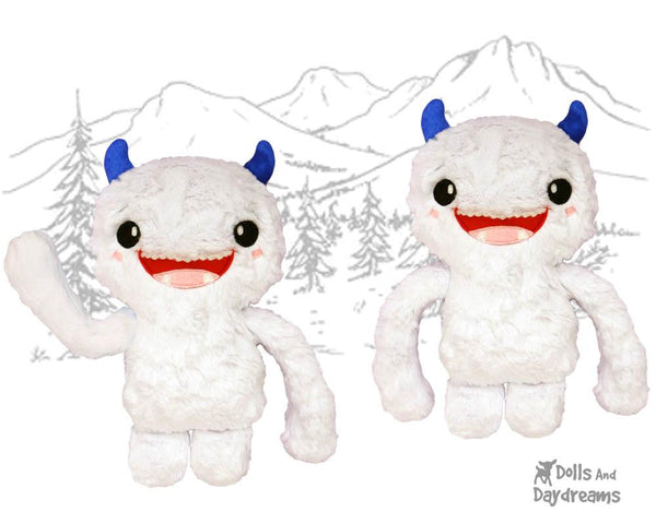Yeti PDF Sewing Pattern cute abominable snowman diy childrens soft toy plushie by Dolls And Daydreams
