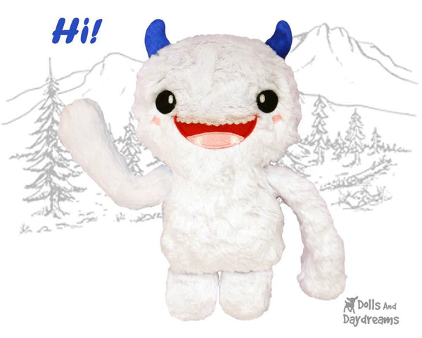 Yeti PDF Sewing Pattern cute abominable diy soft toy plush by Dolls And Daydreams