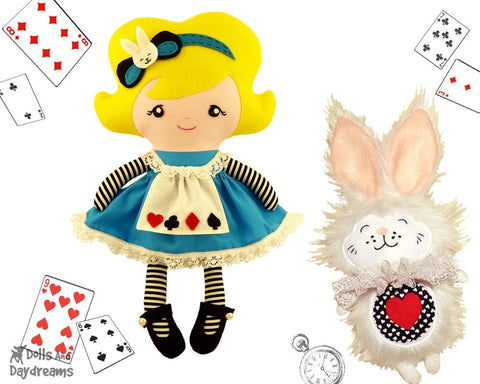 Alice In Wonderland Sewing Pattern Set 1 - Dolls And Daydreams - 1