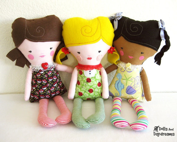 Easy Girl Doll Sewing Pattern - Dolls And Daydreams - 2