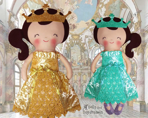 Princess Ball Gown & Tiara Cloth Doll Clothes Sewing Pattern by Dolls And Daydreams