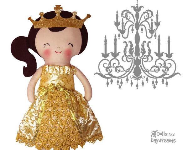 Princess Ball Gown & Tiara Doll Clothes Sewing Pattern by Dolls And Daydreams