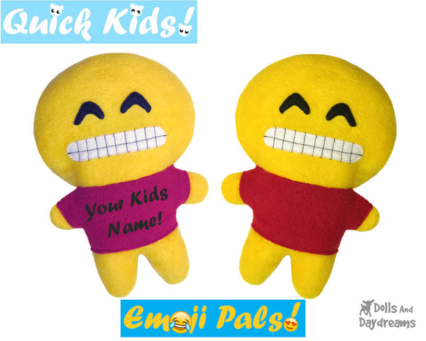 Quick Kids Big Grin Emoji Sewing Pattern by Dolls And Daydreams Easy DIY Soft Toy plushie