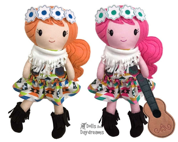 ITH Boho machine embroidery Pattern hippy doll pattern by dolls and daydreams