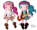 Boho Babes Sewing Pattern hippy cloth doll diy by dolls and daydreams