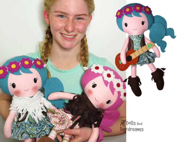 Boho Babes Sewing Pattern hippy fabric doll diy by dolls and daydreams
