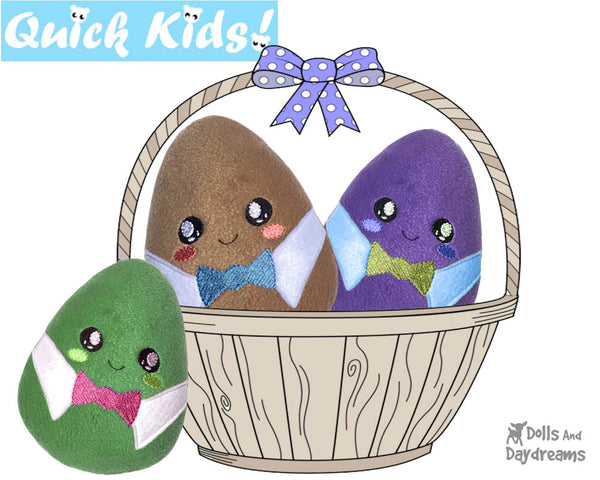 In The Hoop Quick Kids Boy Easter Egg Stuffie ITH machine embroidery Pattern Plush Toy by Dolls And Daydreams
