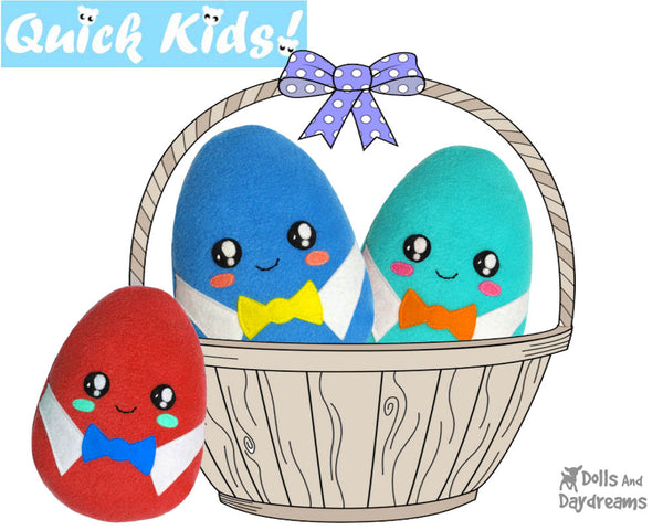 Quick Kids Boy Easter Egg Softie Sewing Pattern Plush Toy by Dolls And Daydreams