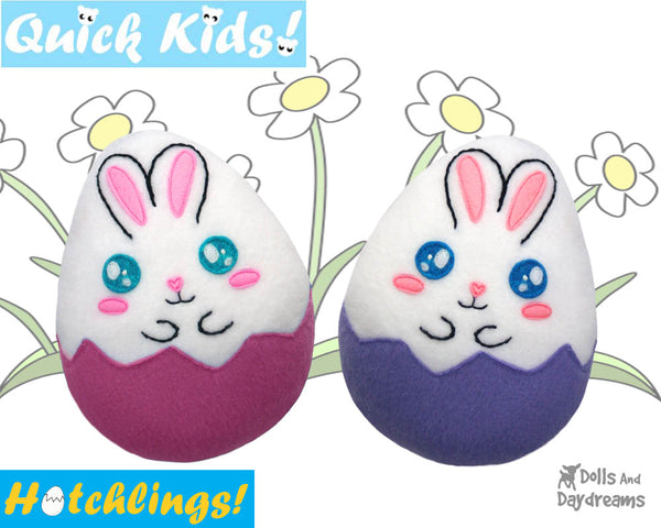 Quick Kids Bunny rabbit Hatchling Softie Sewing Pattern soft toy Plushie diy by Dolls And Daydreams