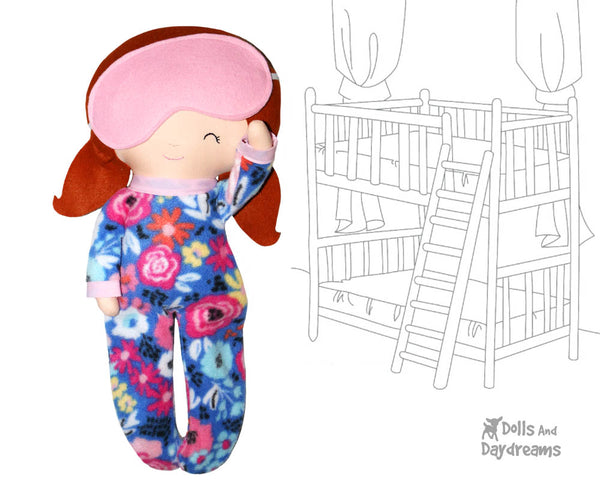 18 inch doll Bedtime Bunting PJs Sewing Pattern