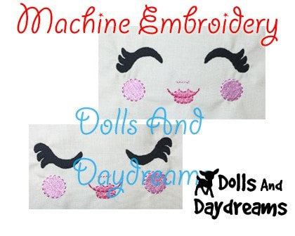 Machine Embroidery Luscious Lashes Doll Face Pattern - Dolls And Daydreams - 3