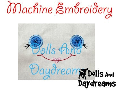 Machine Embroidery Button Baby Doll Face Pattern - Dolls And Daydreams - 4