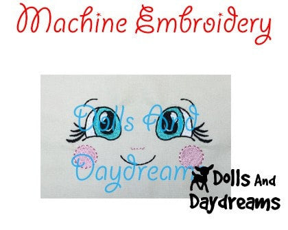 Machine Embroidery Cheeky Cheeks Doll Face Pattern - Dolls And Daydreams - 3
