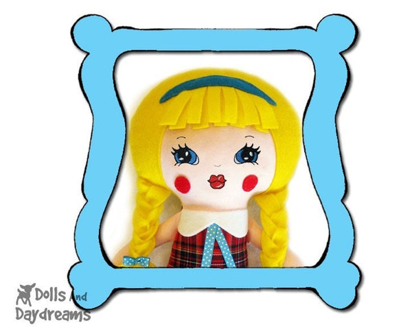 Machine Embroidery Retro Doll Face Pattern - Dolls And Daydreams - 1