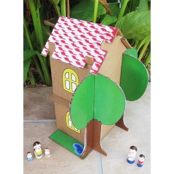DIY Cardboard Doll House Pattern - Dolls And Daydreams - 4