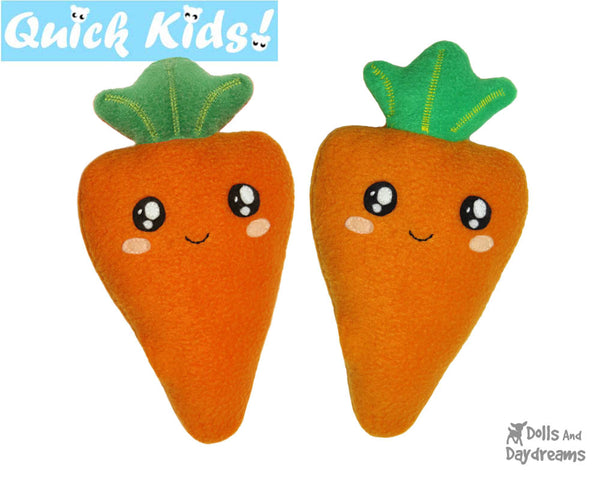 Quick Kids Carrot Softie Sewing Pattern Plush Toy by Dolls And Daydreams