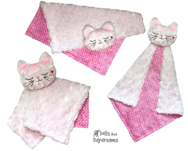 ITH Cat Baby Blanket Lovie Machine Embroidery Pattern by dolls and daydream 2