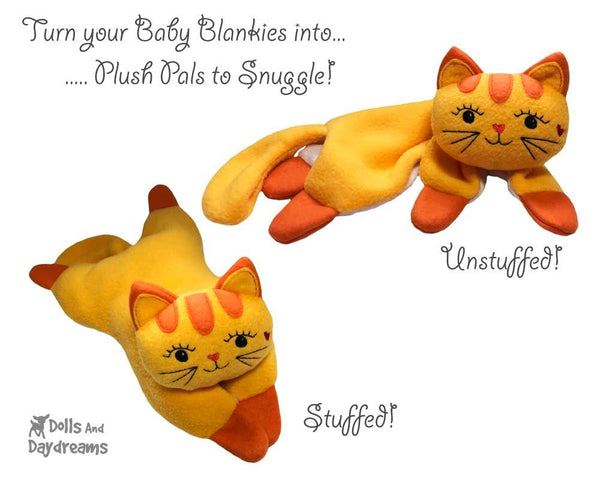 ITH Cat Baby Blanket Lovie Machine Embroidery Pattern by dolls and daydream  DIY Blankie