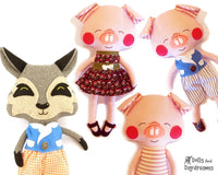Three Little Pigs and Big Bad Wolf Sewing Pattern - Dolls And Daydreams - 1