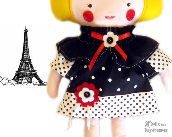 French Dress and Cape Sewing Pattern - Dolls And Daydreams - 3