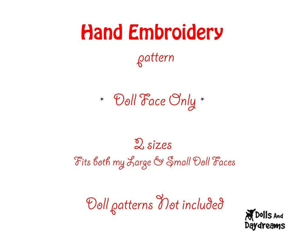 Hand Embroidery or Painting Art Doll Face Pattern - Dolls And Daydreams - 2