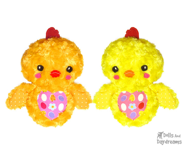 Easter Chick Sewing Pattern by Dolls and Daydreams diy chicken softie toy