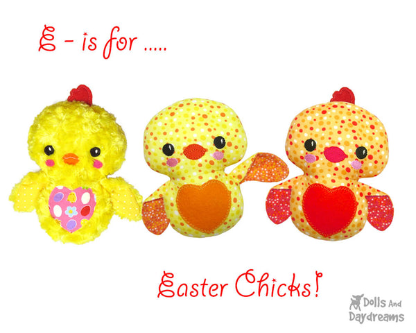 Easter Chick Sewing Pattern by Dolls and Daydreams diy toy