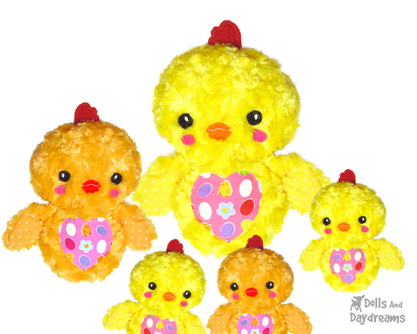 Easter Chick Sewing Pattern by Dolls and Daydreams diy hen baby chicken softie toy