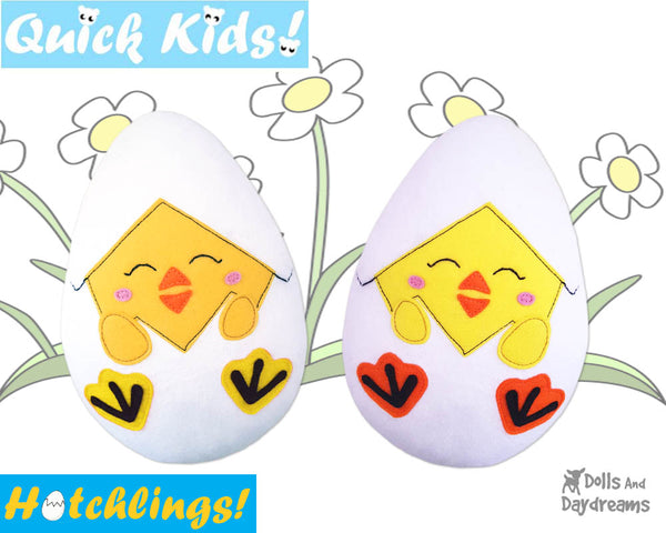 Quick Kids peek a boo Chick Hatchling Easter Egg Softie Sewing Pattern Plush Toy by Dolls And Daydreams