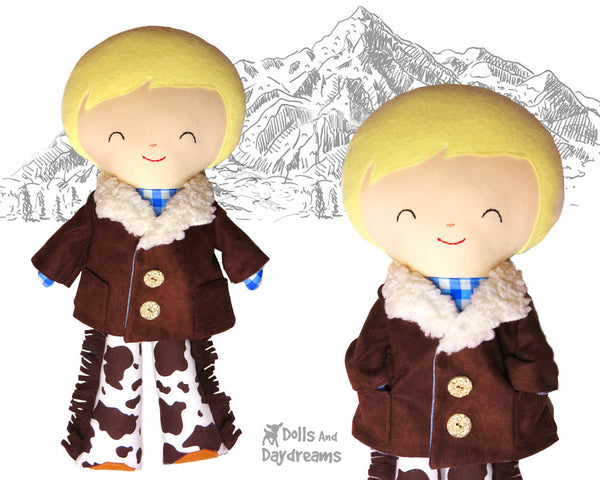 18 inch Boy Doll Coat Sewing Pattern by Dolls And Daydreams
